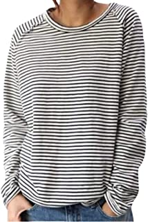 Loyomobak Women Stripe Crewneck Long Sleeve Plus Size Loose Fit T-shirt
