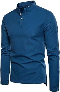 Men's Linen Cotton Henley Shirt Long Sleeve Casual T Shirt Slim Top