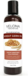 Wheat Germ Oil USP Grade by Velona - 4 oz | 100% Pure and Natural Carrier Oil | Unrefined, Cold Pressed | Cooking, Face, H...