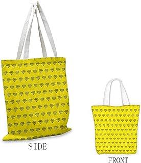 Tote Bag, Foldable Modern Decor Hand Drawn Retro Vintage Art Deco Style Sketch Minimalist Diamonds Print, 16.5