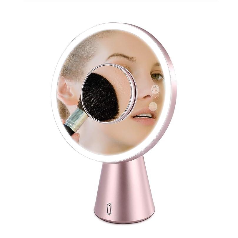 歌トランスペアレント回答Fascinate 鏡 化粧鏡 LED ミラー 卓上 5倍拡大 スタンドミラー 美容鏡ledライト付き 明るさ調整可能 USB充電式 ブルートゥーススピーカー デスクライト兼用 日本語説明書付き