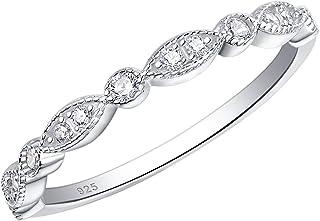 خاتم زفاف Newshe Milgrain Marquise للنساء من الفضة الإسترلينية خواتم الخالصة القابلة للتكديس Cz Sz 5-10