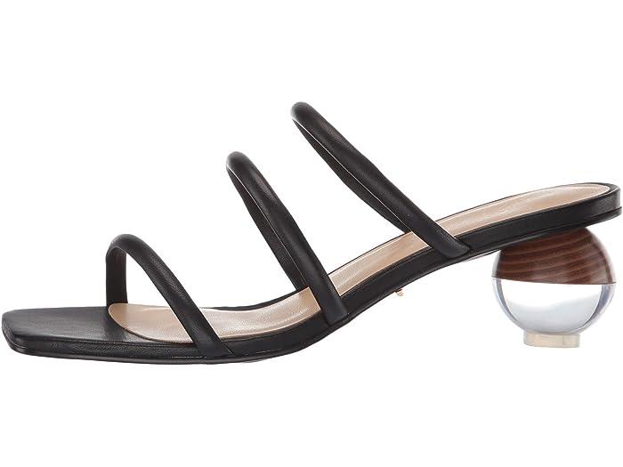 42 Gold Motif Black Leher Heels
