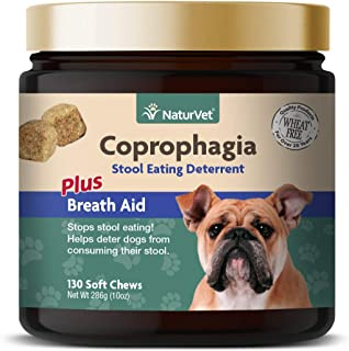 NaturVet – Coprophagia Stool Eating Deterrent Plus Breath Aid | Deters Dogs from Consuming Stool | Enhanced with Breath Freshener, Enzymes & Probiotics | 130 Soft Chews