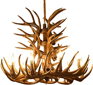 Tengxiang Ceiling Lights Europe Style Vintage Candle Antlers Resin Chandelier American Retro Resin Deer Horn Lamps Home Lighting E14 110-240V Pendant Lights (Size : 9+3 Headed)