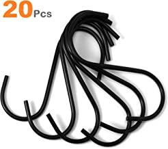 Flammi S Hooks Stainless Heavy Duty Hold 40 Pounds Black Finish Steel Pan Pot Holder Hanging Hooks 3.38 Inches Long for Mugs Towels Bags Kitchen Office Garden Versatile (20 Pack)