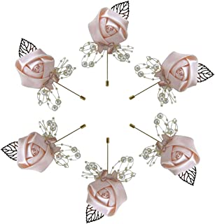 Buery 6 Pieces/lot Wedding Boutonniere Handmade Rose Boutonniere Corsage with Pin, Lapel Pin Rose Wedding Boutonniere for Wedding Prom Party Decor (Water Pink)