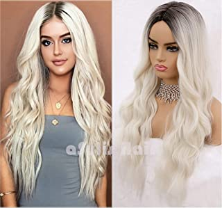 aSulis Long Wavy Full Wigs Ombre Black to Platinum Blonde Mix Two Tone Dyeing Color Synthetic Hair Wig for Women (Platinum...
