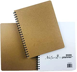 """Dated 2020 Natural Day Planner (6.625"""" x 9"""") January - December, Warm-White Eco Friendly Paper, Dotted Line Layout"""