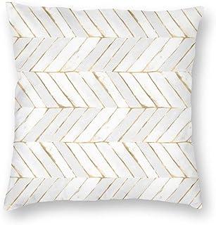 Myhou Juego de fundas de almohada cuadradas decorativas con diseño de cheurón pintado en oro blanco giratorio de terciopelo suave para sofá, dormitorio, coche, 40 x 40 cm