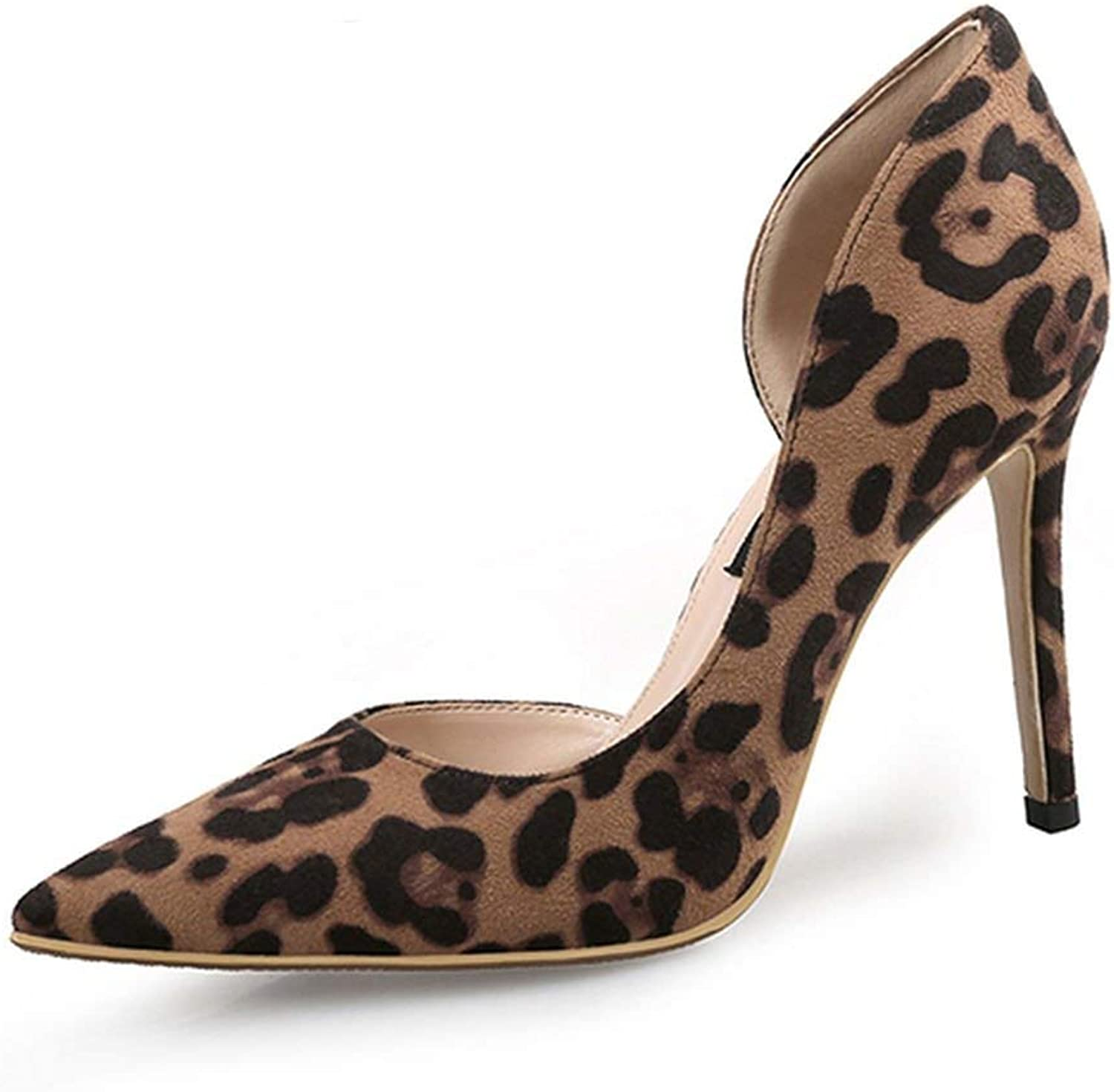 Heeled-Sandalssexy Women Pumps High Heels shoes Spring Leopard Thin Heels Woman Party shoes Plus Size Pointed Toe Single Female Pumps 45,Two Piece 8Cm,7.5