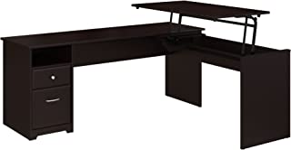 Bush Furniture Cabot 72W 3 Position L Shaped Sit to Stand Desk in Espresso Oak