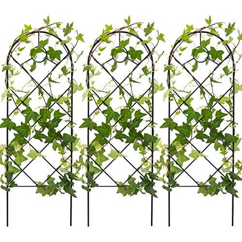 3 Pack Black Iron Garden Trellis for Climbing Plants- 23' x 7.7' Rust Free Vine...
