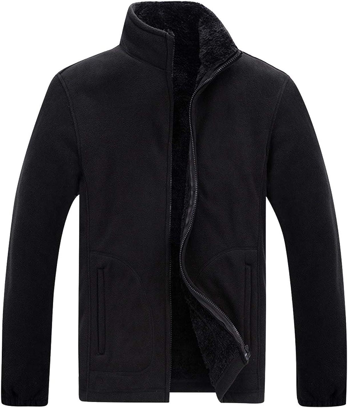 Lentta Mens Autumn Winter Bombing new work Full Zip Stand Fleece Store Collar Up Polar