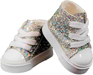 The Queen's Treasures 18 in Doll Shoes Silver High Top Sneaker, Clothing Accessory for American Girl
