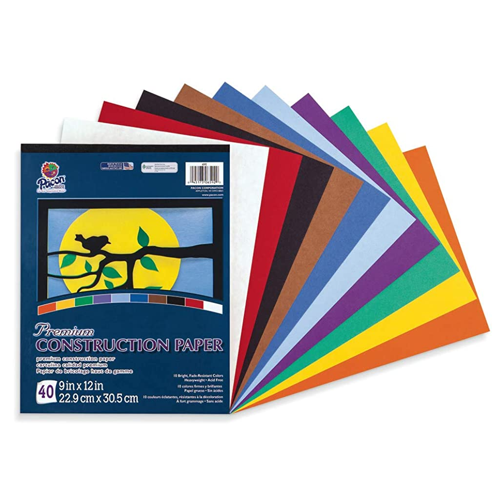Tru-Ray Heavyweight Construction Paper Pad, 10 Assorted Colors, 9