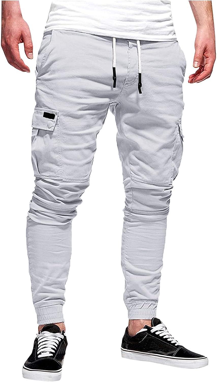 Mens Joggers Sweatpants Stretch Casual Cotton Cargo Pants Workout Sports Track Pants Long Trousers