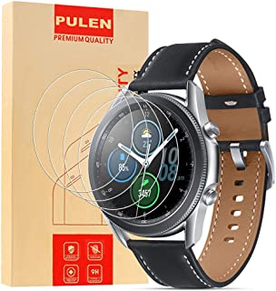 [4-Pack] PULEN for Samsung Galaxy Watch 3 45mm Screen Protector,HD Clear Bubble Free Anti-scratch 9H Hardness Tempered Glass