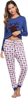 Aiboria Pijamas Familiares Navidad, Pijama Navideños Hombre Mujer Camisetas y Pantalones de Manga Larga Ropa de Dormir Con...
