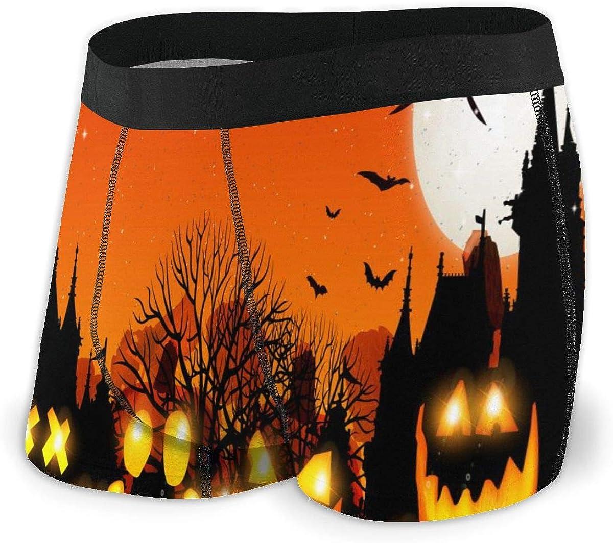 Mens Boxer Briefs Halloween Night Sky Pumpkin Bat Breathable Underwear