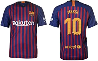 RHINOXGROUP Lionel Messi Barcelona #10 Men's Soccer Jersey Home Short Sleeve Adult Sizes