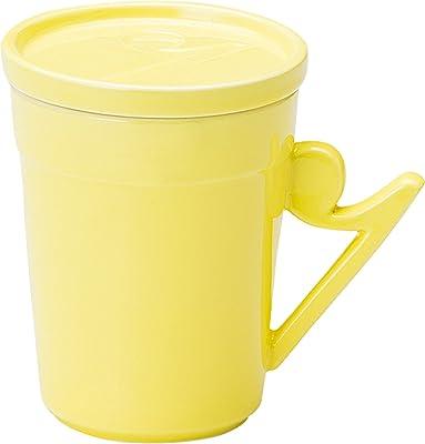 宗峰窯 マグカップ 8分休符 フタ付き イエロー 10×8.2×10.5cm(250㏄) 761-26-653