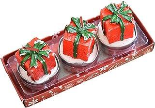 BESTOYARD 3本のクリスマスキャンドルミニキュートな装飾的なギフトボックス形状のキャンドルスパのホームクリスマスパーティーウィンドウの表示テーブルの装飾の贈り物