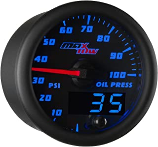 MaxTow Double Vision 100 PSI Oil Pressure Gauge Kit - Includes Electronic Sensor - Black Gauge Face - Blue LED Illuminated Dial - Analog & Digital Readouts - for Trucks - 2-1/16