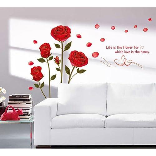 Decals Design 'Romantic Rose Flowers' Wall Sticker (PVC Vinyl, 50 cm x 70 cm, Multicolour)