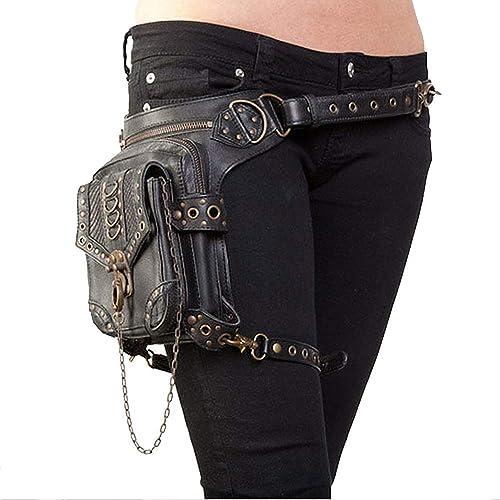 Jxth Cuisse Multi-usages Style Rock Gothique en Cuir PU Steampunk Sac à Main Taille Leg Pack Vintage Punk épaule Messenger Bag Sacs Fanny pour Femmes
