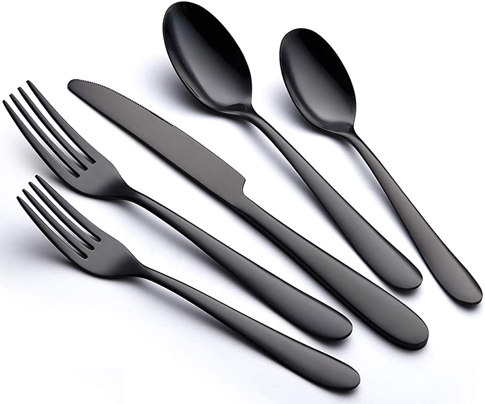 Black 40 Piece Stainless Steel Silverware Flatware Cutlery Set For 8 Mirror Polished Utensils Tableware Sets Include Knife Fork Spoon For Kitchen Service For 8 Dishwasher Safe