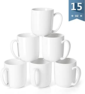 Sweese 604.001 Porcelain Mugs for Coffee, Tea, Cocoa, 15 Ounce, Set of 6, White