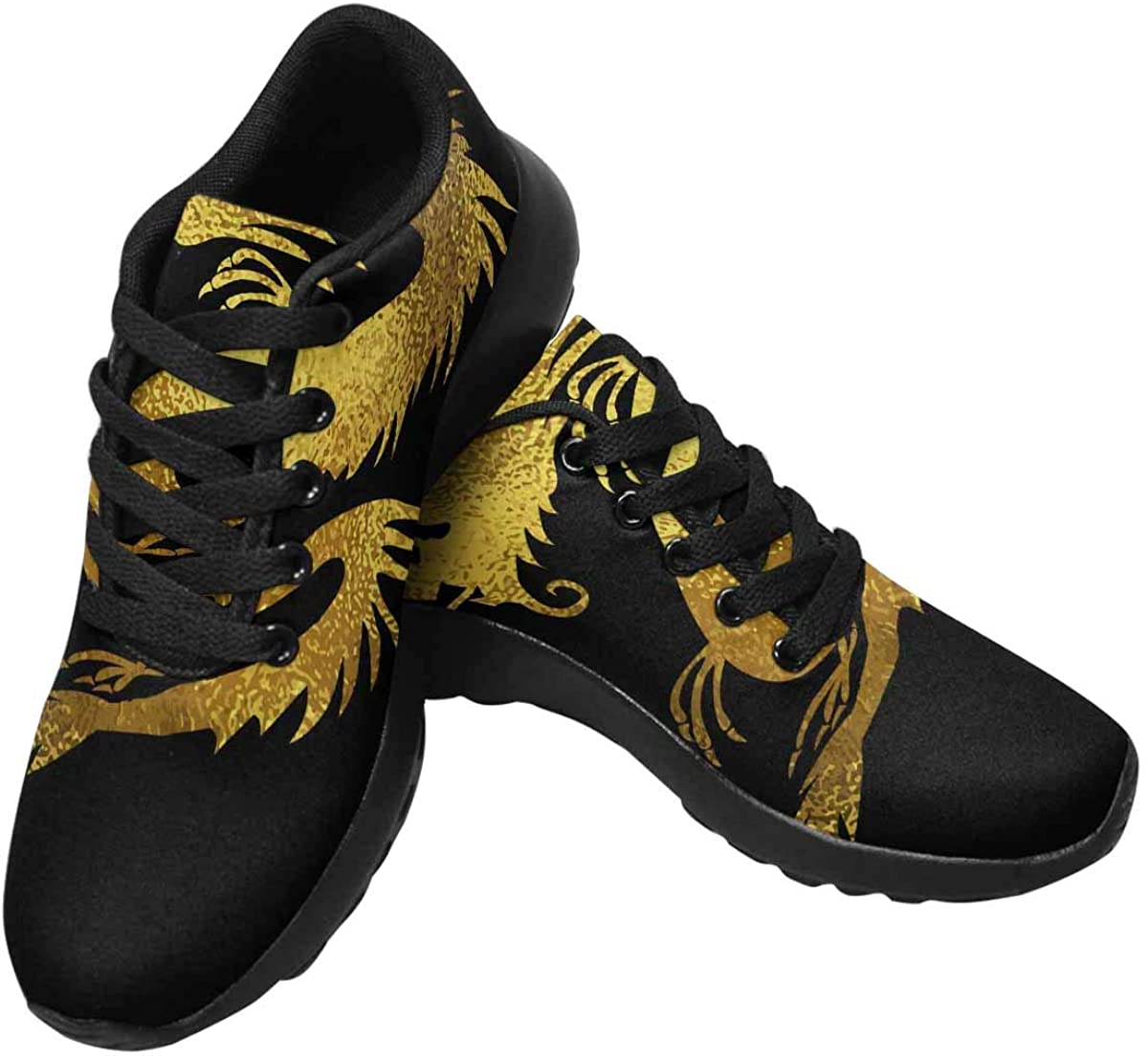 InterestPrint Golden Foil Women's Running Shoes - Casual Breathable Athletic Tennis Sneakers