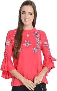 Mitaha Pink Women Girls Round Neck Flared Sleeves Ruffle Embroidered Cotton Top Women/Girls Tops