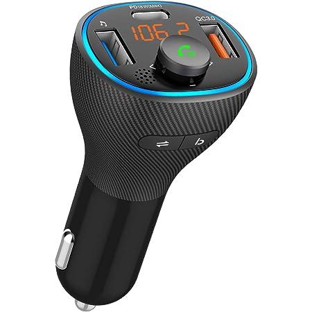 【2021業界新設計初売り】 FMトランスミッター Bluetooth5.0 高音質 QC3.0急速充電 PD18W対応 USB *2口/Type-C *1口 重低音モード ノイズ低減技術 Siri&Google Assistant対応 ハンズフリー通話 車載FMトランスミッター 車載充電器 バッテリー電圧測定 12-24V車対応 LEDディス U-Disk再生可能 多国語説明書(日本語付き) 12ヶ月保証