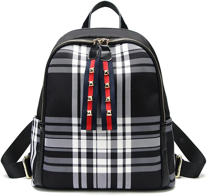 Korean Version of The Tide Lattice Oxford Cloth Shoulder Bag Female Full Waterproof Large Capacity Leisure Travel Leather backpack