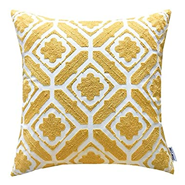 SLOW COW Cotton Embroidered Cushion Cover Floral Pattern Designs Throw Pillow Cover, 18x18 Inch, Yellow.