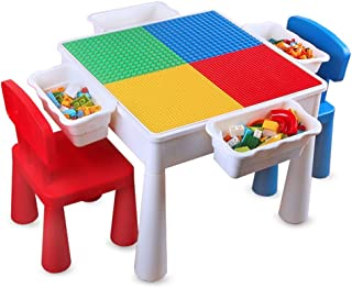 AFCITY-toy Mesa Construye y Aprende Bebés y primera infancia Rompecabezas de Mesa de gránulos for niños Juguetes for niños 1-7 años de Edad Bloques de construcción ensamblados Mesa de Juego para bebés Juegos de bloques