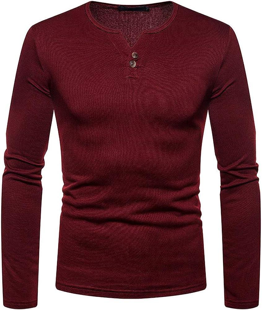 MODOQO Men's Slim Fit Long Sleeve Henley T-Shirt Casual Solid Pullover Tee Sweatshirts