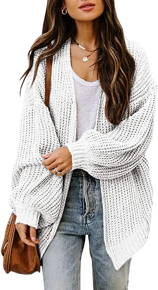 Haloumoning Womens Oversized Open Front Cardigan Sweaters Long Sleeve Casual Chunky Knit Loose Cozy Outwear 2XL White
