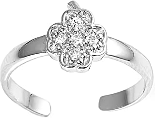 Glitzs Jewels 925 Sterling Silver Toe Ring for Women and Girls (Cross) (Clear CZ) | Cute Jewelry Gift