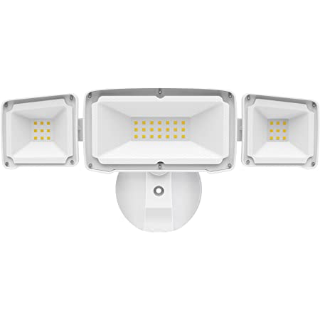 Amico 3500LM LED Security Light, 30W Bright Outdoor Flood Light, 5000K Daylight White, IP65 Waterproof with 3 Adjustable Heads for Garage, Backyard, Patio, Garden, Porch&Stair