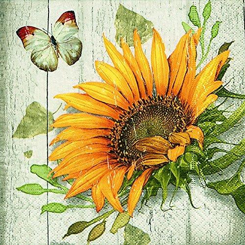 20 Servietten Vintage Sonnenblume/Blumen/Sommer/Herbst 33x33cm
