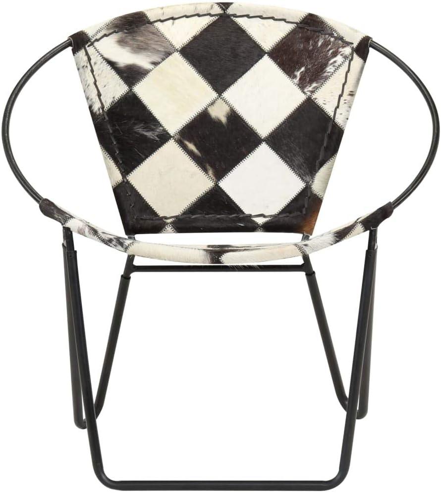 vidaXL Chaise de Relaxation Cuir Véritable Losanges Noir Salon Salle de Séjour Rautenmuster Schwarz