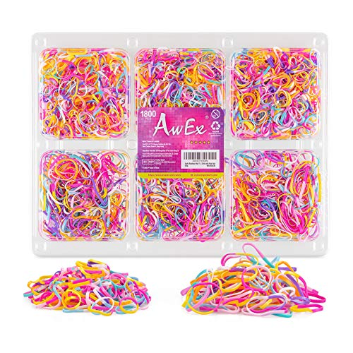 AwEx 1800 PCS Rainbow Hair Ties- Mini Hair Bands,Soft Elastic Bands for Hair Braids - Great for Girls with Fine Hair