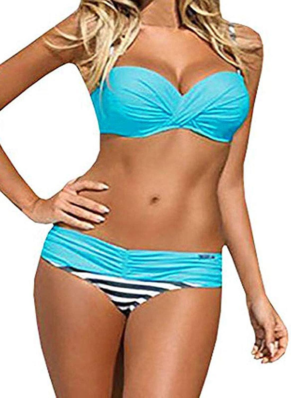 Actloe Women Color Block Bikini Swimsuit Two Pieces Swimwear Push up Bathing Suit