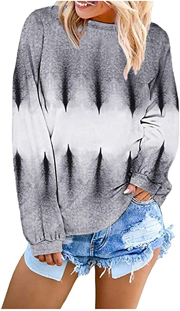 Women's Fashin High quality new Long Sleeve Brand new Crewneck Tunic Thin Gradient Sh Color