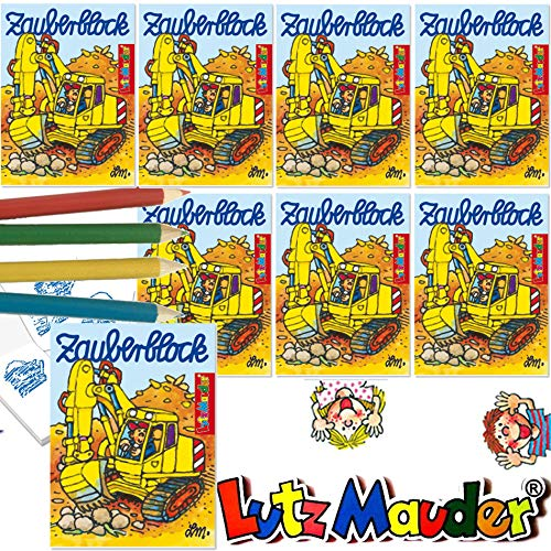 Neu: 8 x Zauberblöckchen * Baustelle & Bagger * in DIN A8 Plus Buntstifte im Set   Zauberblock Mitgebsel für Kindergeburtstag   Jungen lieben Diese Bauarbeiter Malbücher