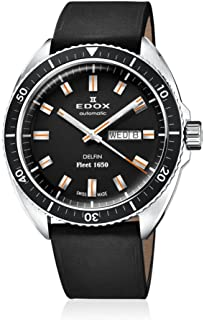 Edox Men's Delfin Stainless Steel Swiss-Automatic Diving Watch with Leather Strap, Black, 22 (Model: 88004 3 NIN)