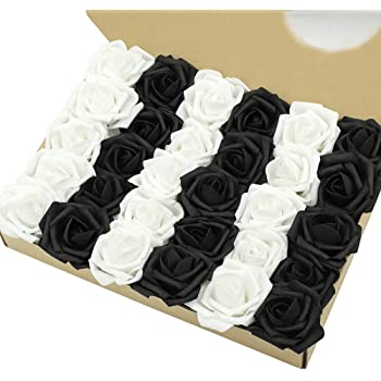 MACTING Artificial Flower Rose, 30pcs Real Touch Fake Foam Roses for DIY Bouquets Wedding Party Baby Shower Home Decoration(15pcs Black + 15pcs White)